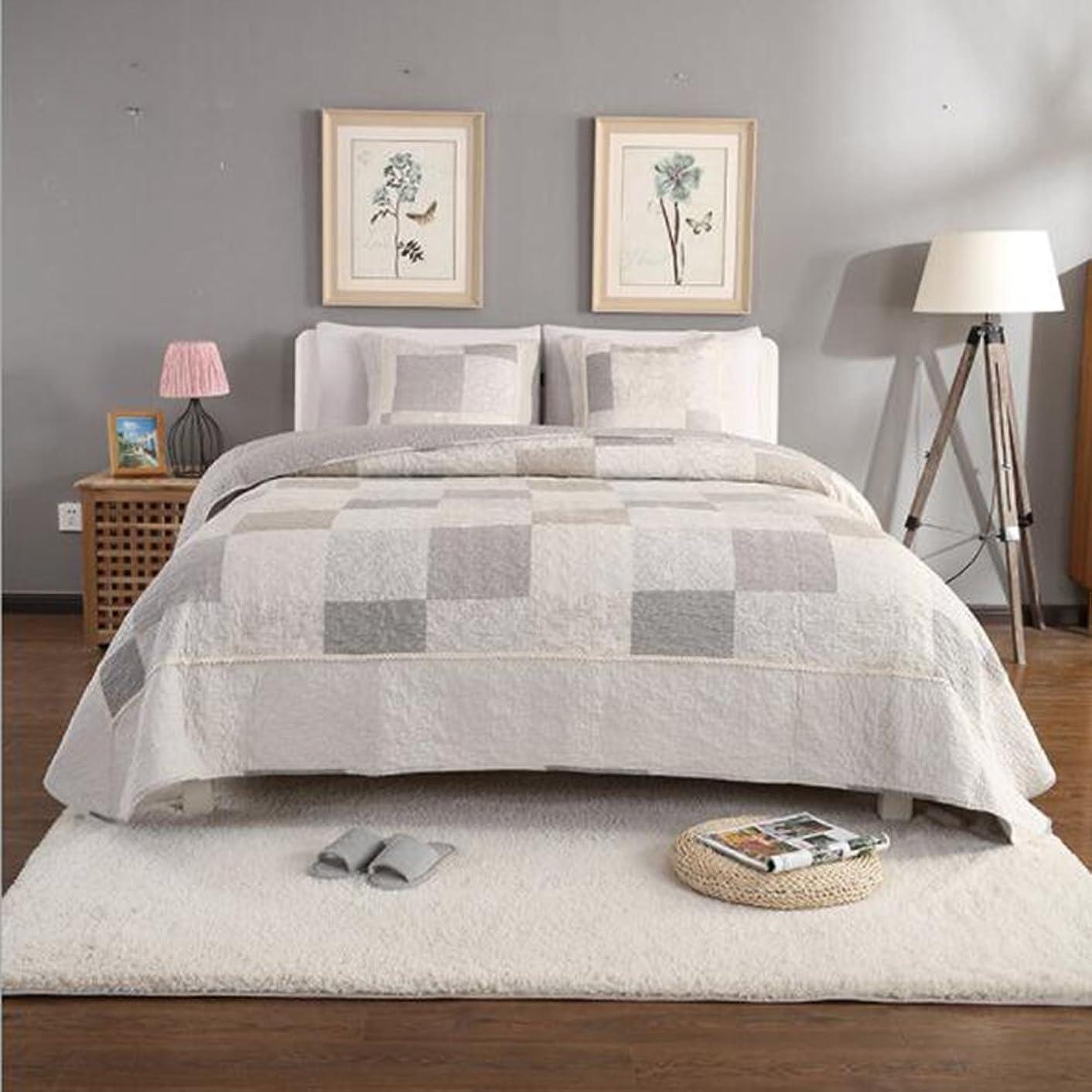ピンガイドラインリフトベッドカバー ベッドスプレッド マルチ カバー キルト おしゃれ ダブル 綿100% 枕カバー 寝具カバーセット 3点セット/ 四節適用 優しい肌触り-C297(格子)