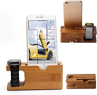 Universal Bamboo Wood Charging Stand Cradle Dock Holder For Apple Watch & Iphone