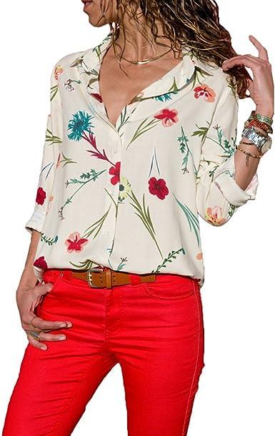 Mujer Camiseta Mango Largo Blusa Cuello En V Casual Elástico Estilo cómodo Top Shirt Camiseta de Mujer
