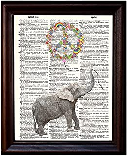 Dictionary Art Print - Peace Balloon and Elephant - Printed on Recycled Vintage Dictionary Paper - 8.5