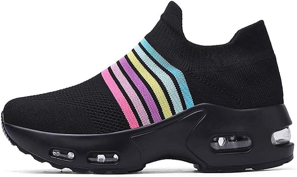 Niber お得クーポン発行中 Walking Shoes (訳ありセール 格安) Sock Air Sneakers Wedge Platform Running Loa