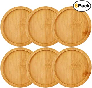 IHUIXINHE Bamboo Plant Saucer Round Plant Pot Tray Indoor Outdoor Plants, Set of 6 (Round)