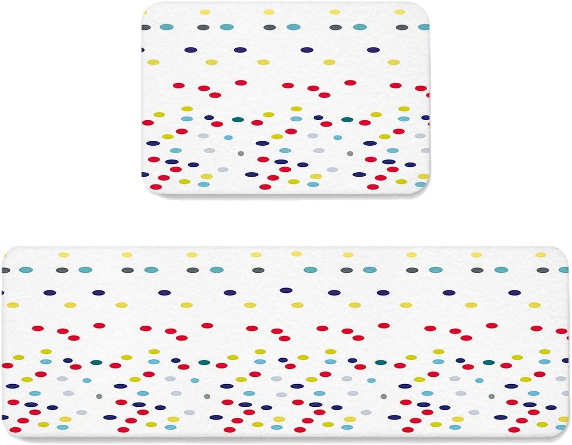Cute Polka Dots Kitchen Mat Set Ranking TOP7 Cushioned Anti-Fatigue discount 2 Kit of