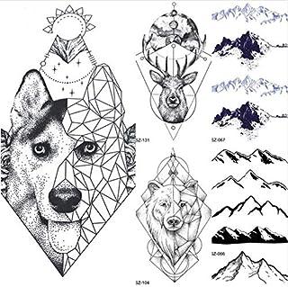 ruofengpuzi Adesivo tatuaggioTótem geométrico Perro Lobo Brazo Femenino Arte del Tatuaje Temporal Hombre Husky Tatuaje Falso Negro Impermeable Tatuaje Lobo Figura Pegatina