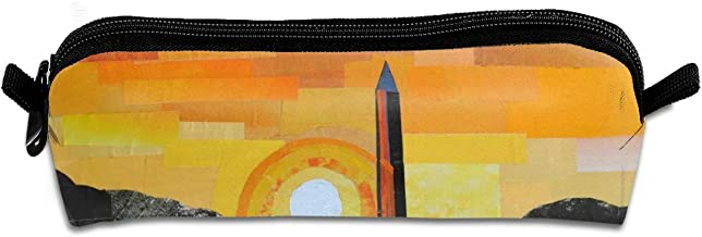 Diemeouk Pencil Case Washington Monument Sunset Zippered Pen Bag Cosmetic Makeup Bags for Colored Watercolor Pencils