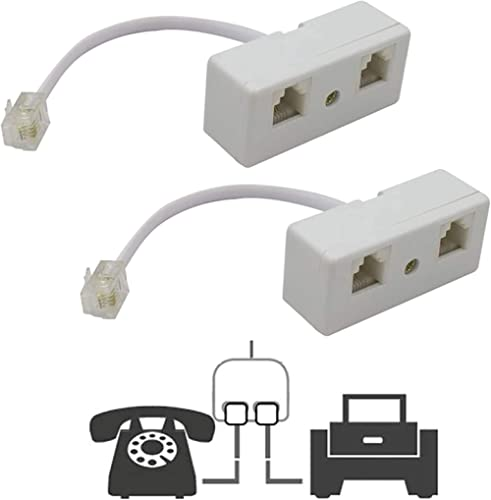 Two Way Telephone Splitters,Uvital Male to 2 Female Converter Cable RJ11 6P4C Telephone Wall Adaptor and Separator fo...