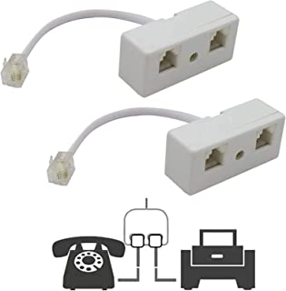 Two Way Telephone Splitters,Uvital Male to 2 Female Converter Cable RJ11 6P4C Telephone Wall Adaptor and Separator for Lan...