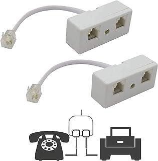 Uvital Dos Forma de teléfono Divisor, Macho a 2 Hembra Converter Cable RJ11 6P4 C Teléfono Adaptador y Separador de Pared ...
