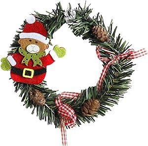 Alimagic Couronne de Noel, Couronne décorative, Noël Couronne d'automne Guirlande de Noël Artificielles Fait à Main Couronne de Fleurs Idéal Déco Noël pour Votre Porte Mur ou (Ours)