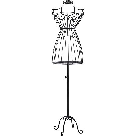 SONGMICS Mannequin Femme, Buste, en Forme de Robe Vintage, en Fils métallique, Présentoir de vêtements, Mannequin de vitrine, Noir HRA09B