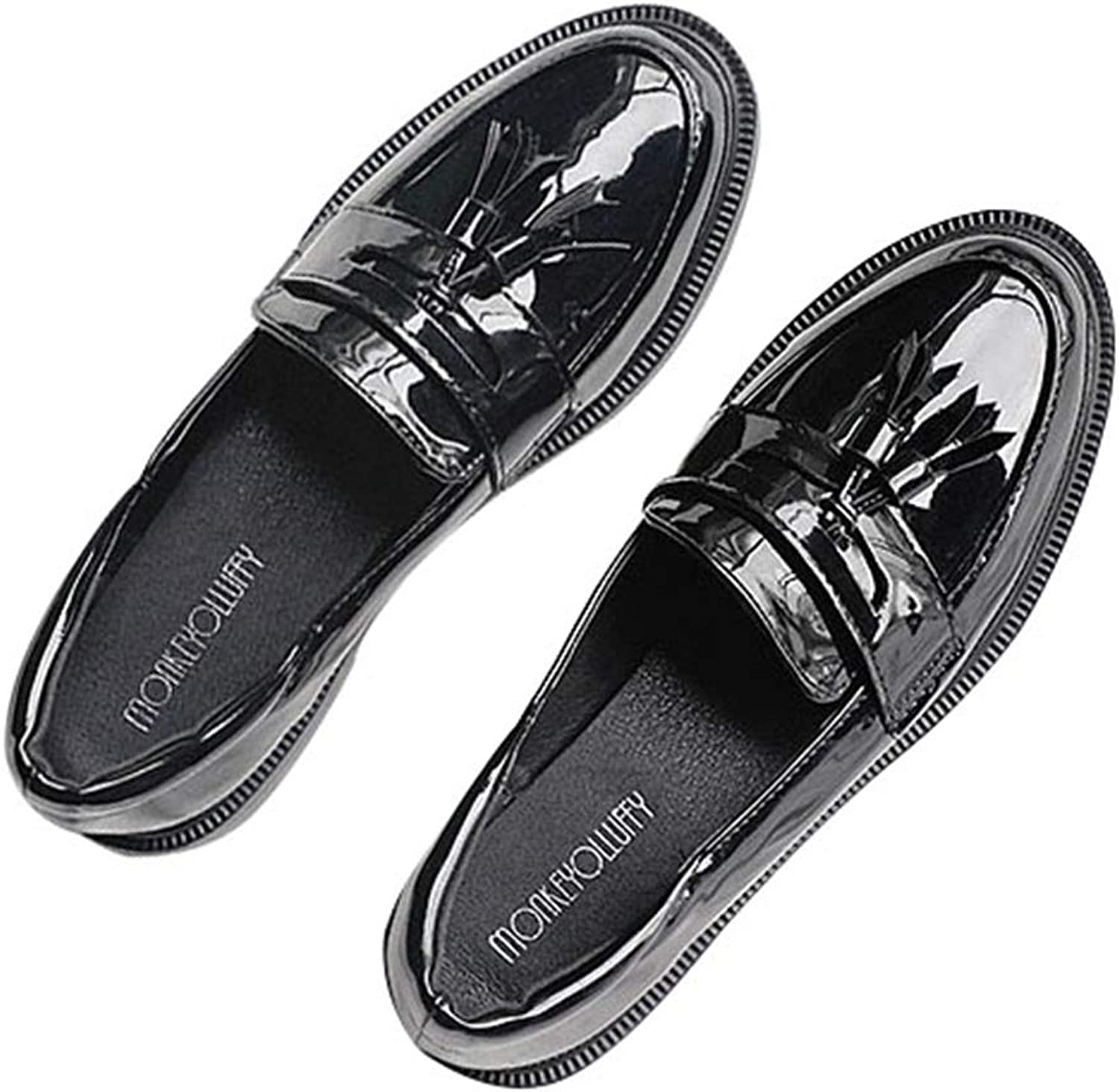F-OXMY Women's Comfortable Penny Loafers Flat Tassel Shiny PU Leather Slip On Oxfords shoes