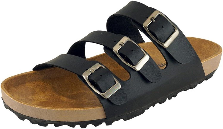Cambridge Select Women's 3-Strap Buckle Slip-On Flat Platform Slide Sandal