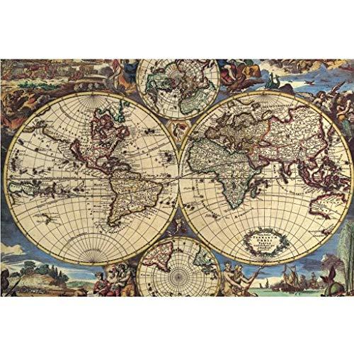 Kreative 1000 Stück Alte Karte Welt Globus Earth Planet Abstrakte Kunst Bild Geburtstag Weihnachten DIY Geschenke Holzpuzzle, Finish Größe 30x20 Zoll