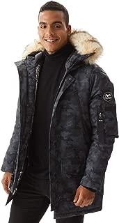 Men's Warm Winter Down Jacket Parka Puffer Coat with Hood Faux-Fur Trim XS-3XL