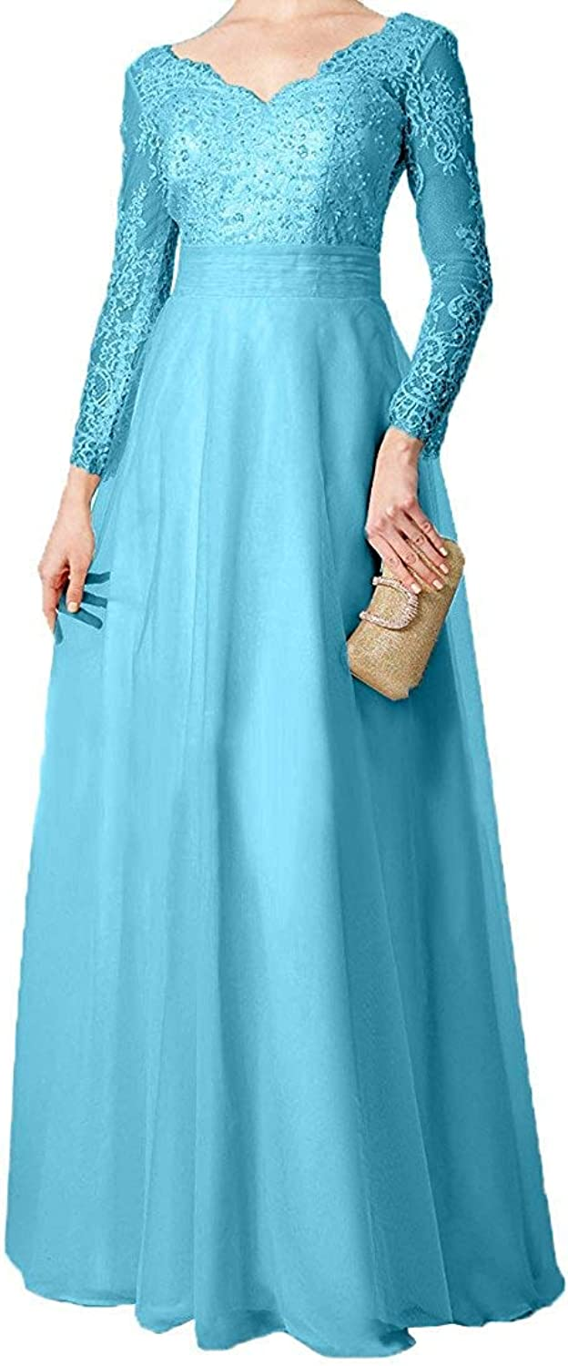 DressyMe Women's Wedding Party Dress Prom Gown Long Sleeves VNeck EmpireWaist