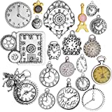 BronaGrand 20pcs Mixed Antique Charms Clock Face Watch Gear Cog Wheel Steampunk Pendant Charms for Crafts Necklace Bracelet Jewelry Making