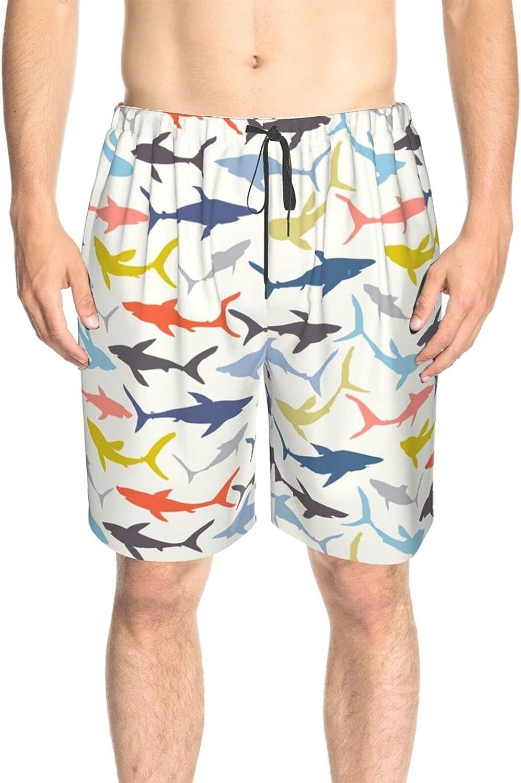 Men's Swim Trunks Colorful Sharks Swim Board Shorts Drawstring Elastic Athletic Swimwear Shorts with Pockets