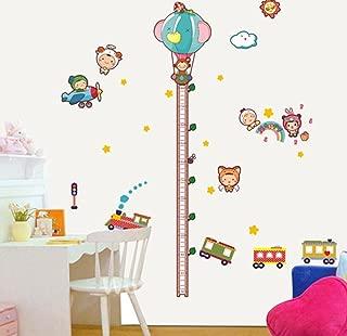 BIBITIME Cute Hot Air Balloon Height Chart Traffic Light Train Wall Decal Nursery Growth Charts for Classroom Art Mural Home Living Room Porch Bedroom Kids Room Decor