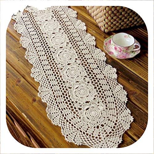 Small-shop tablecloth Tovaglia in Cotone Lavorata a Mano all'Uncinetto, Runner per casa, caffetteria, Decorazione da tavola, 1 Pezzo 30x120cm Infradito Colorati Estivi, con finte Perline