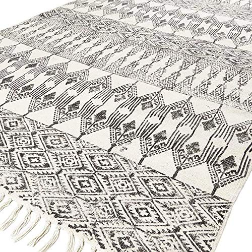 EYES OF INDIA - 4 X 6 ft Off-White Black Cotton Block Print Area Dhurrie Rug Flat Weave Hand Woven Tassel Boho Chic Indian Bohemian Accent Handmade Handwoven