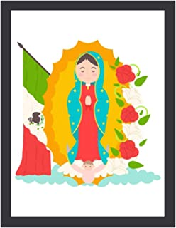 """""""N/A"""" Rustic Farmhouse Decor Sign - Virgen De Guadalupe Con Bandera - Wall Decorations for Living Room, Bedroom, Kitchen, ..."""