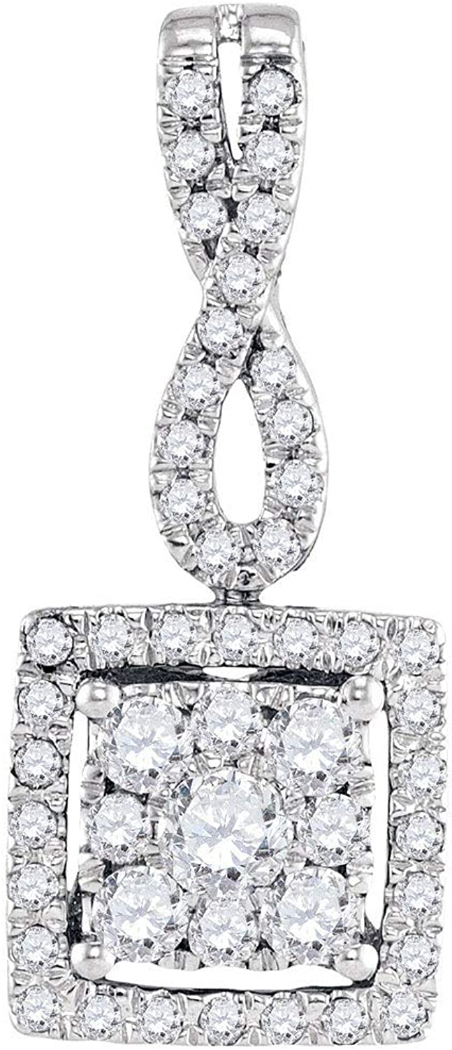 10kt White gold Womens Round Diamond Square Cluster Pendant 1 2 Cttw