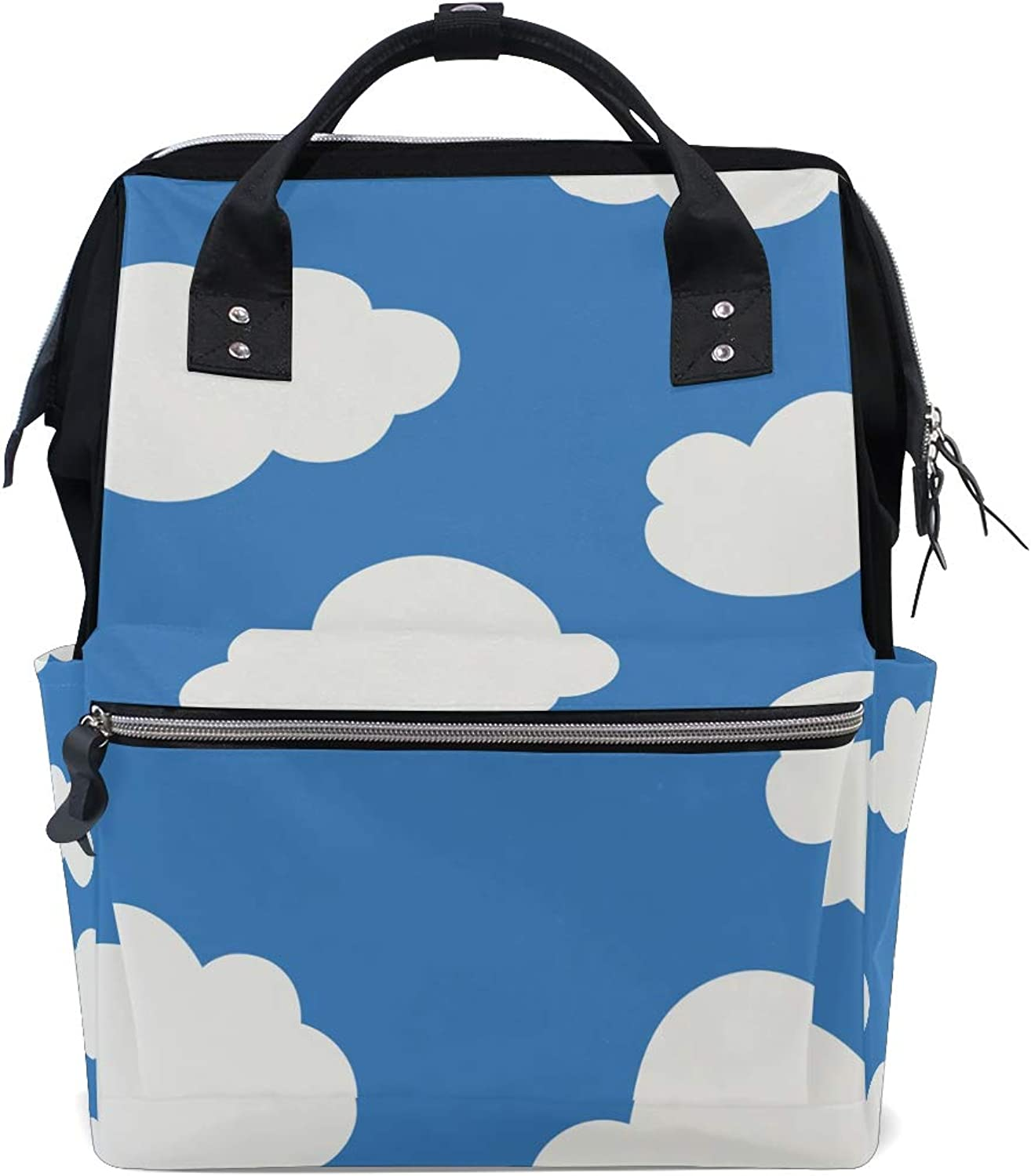 6574a2212639 White Cloud bluee Background Canvas Bag Campus Backpack Travel ...