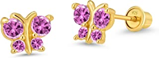 14k Gold Plated Brass Butterfly Cubic Zirconia Screwback Girls Earrings with Sterling Silver Post