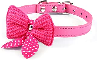 haoricu Pet Collars, Knit Bowknot Adjustable PU Leather Dog Puppy Necklace