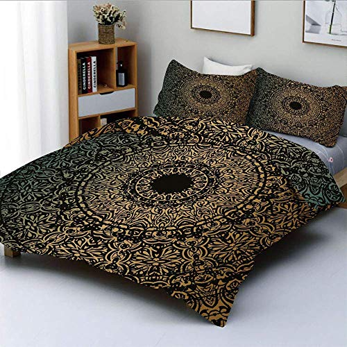 Conjunto de funda nórdica, símbolo ritual espiritual Caleidoscópico Universo Equilibrio de meditación Decorativo Conjunto de ropa de cama de 3 piezas con 2 fundas de almohada, helecho verde oro negro,