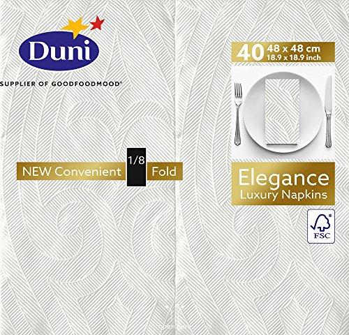 Duni 171669 Elegance Lot de 240 serviettes de table pré-pliées (1/8), 48 cm x 48 cm, blanc