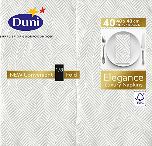 Duni Elegance Extra Large Serviettes de table en pliée, pliée (1/8), 48 cm x 48 cm (lot de 240), blanc, 240