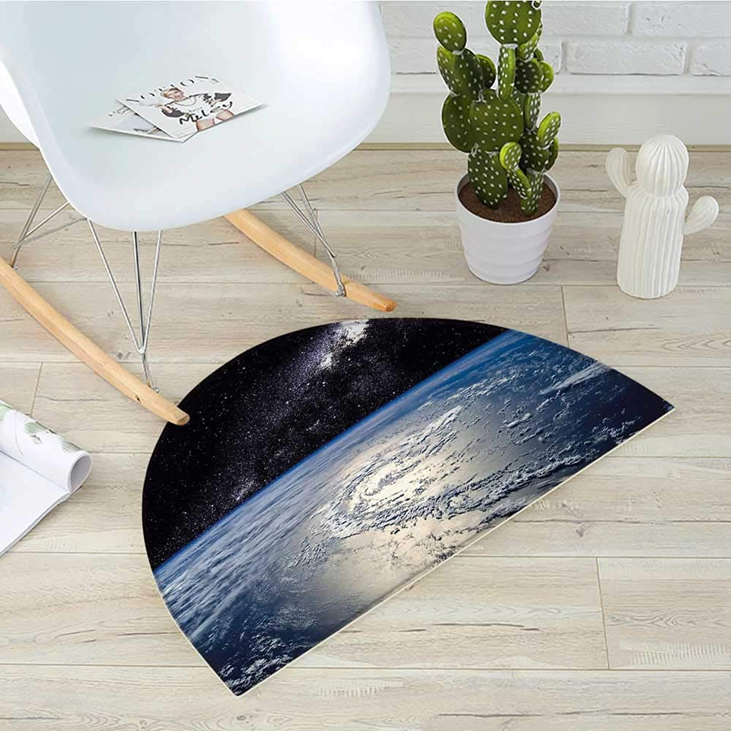 Earth Half Round Door mats Majestic Universe Image with Earth and Distant Nebula Clouds Waters Bathroom Mat H 31.5  xD 47.2  Pale bluee Pale Grey Black
