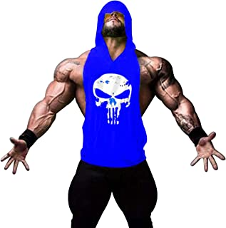 GZXISI Mens Skull Print Stringer Bodybuilding Gym Tank Tops Workout Fitness Vest