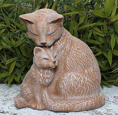 Steinfigur Katze mit Jungtier - Terrakotta, wetterfeste Deko-Figur für Wohnung, Haus und Garten