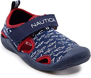 Nautica Kids Kettle Gulf Protective Water Shoe,Closed-Toe Sport Sandal-Navy Red Sharks-11
