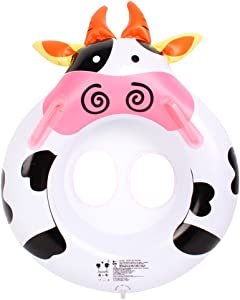 Inflatable Baby Floating Swim Seat, Botitu White Infant Water Float with Funny Cow Design Spring Float and Handles Swimming Ring, Suitable for 2-4 Years Old Kids Pool Float Toy