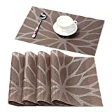 HEBE Placemats for Dining Table Washable Placemat Set of 4 Heat Resistant Woven Vinyl Non-Slip Kitchen Table Mats Wipe Clean for Christmas Holiday(4, Brown)