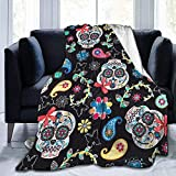 Flower Sugar Skull Print Ultra-Soft Light Weight Cozy Warm Fluffy Plush Blanket Microfiber For Bed Couch Chair Living Room Otoño Invierno Primavera