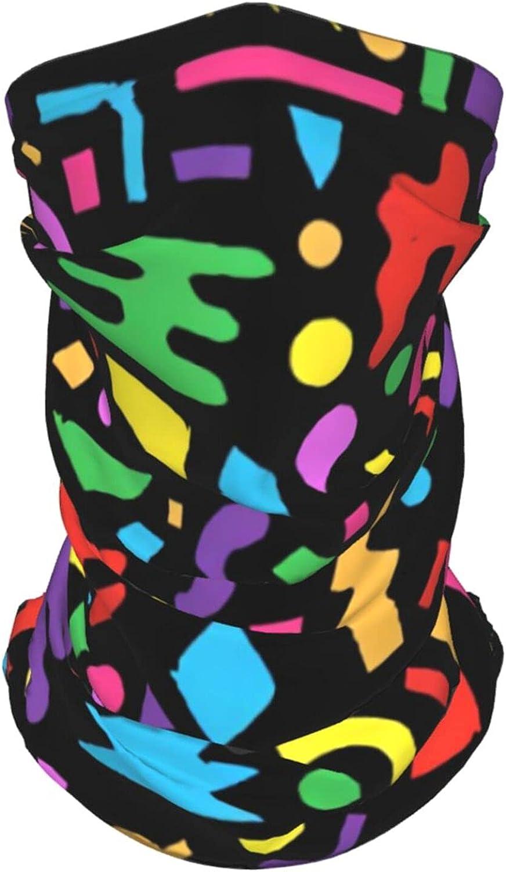 Retro 80s 90s Geometric1 Neck Gaiter Multipurpose Headwear Ice Silk Mask Scarf Summer Cool Breathable Outdoor Sport 2 Pcs