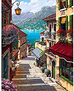Holly LifePro DIY 5D Diamond Painting Kits for Adults, Full Drill Beautiful Town Crystal Rhinestone Embroidery Pictures Ar...