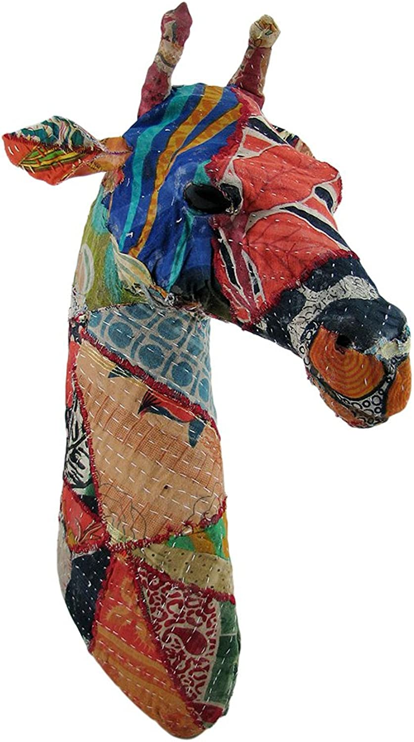 Zeckos Recycled 20 Inch Fabric Covered Giraffe Head Wall Mount Bust