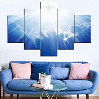 TUMOVO Pictures of Jesus Christ Print on Canvas Christianity Paintings 5 Pcs/Multi Panel Wall Art Home Decor for Living Room Artwork Giclee,Wooden Framed Ready to Hang Posters and Prints(60''Wx40''H)