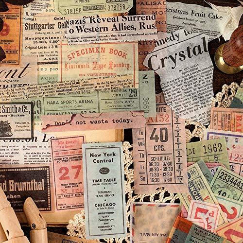 BLOUR 60 unids/Pack Sello de factura Vintage periódico Diario Pegatinas de papelería Decorativas Scrapbooking DIY Diario álbum Stick Etiqueta