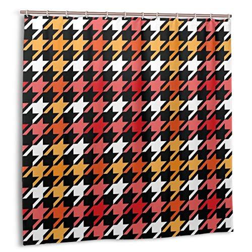 Duschvorhang, Hahnentritt Kariertes nahtloses Muster in Rot Gelb Schwarz-Weiß-Badvorhang Set mit Haken