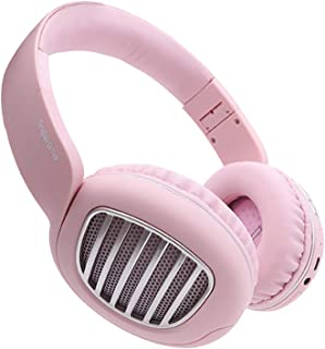 LFFCC Bluetooth Headphones Over Ear, Wireless Headphones with Hi-Fi Deep Bass and Microphone, Soft Earpads Foldable Headset for Home Office Calling Work,Pink