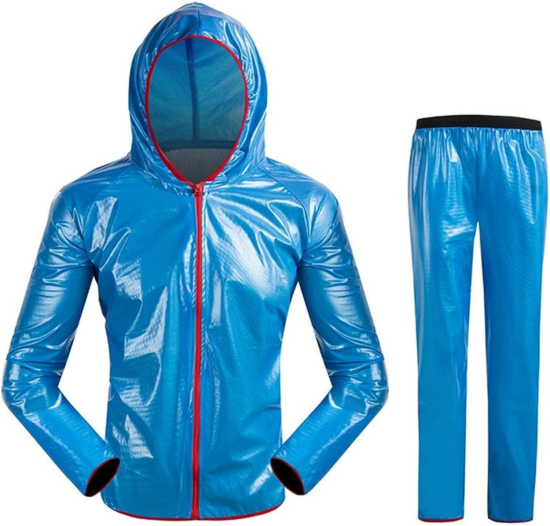 LXYFMS Regenmantel Anzug Herren und Damen reflektierende Regenjacke mit Kapuze Camping Wandern Reiten Jacke Hosen Winddicht wasserdicht Regenmantel (Farbe   Blau, Größe   XXXL)