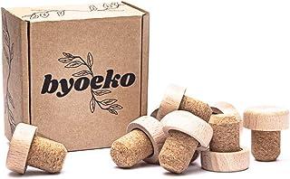 Byoeko Lot de 10 bouchons en liège naturel avec tête en bois pour bouteilles de vin, huiles, boissons ou liquides