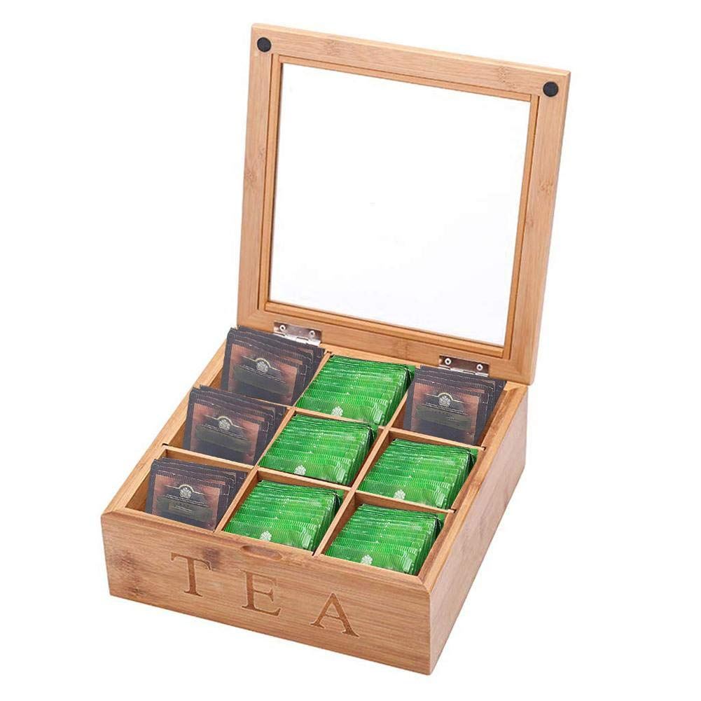 PW TOOLS Caja de té de bambú, Caja de Almacenamiento de Bolsa de té de Madera Vintage de 9 Compartimentos con Tapa, 23x23x9cm: Amazon.es: Hogar