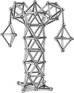LIKEE Upgraded 108 Pieces Magnetic Sculpture with Ultra- Long 0.1in Bars, Magnet Fidget Toys Building Block for Stress Relief, Office and Home Desk Decor, Cool Gadget for Adult (Silver, 108 Pieces)